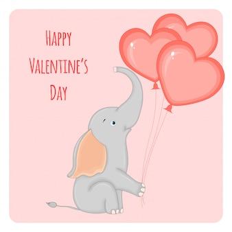 Cartoon set met dieren en belettering voor valentijnsdag