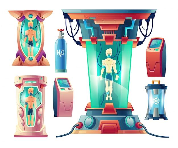 Cartoon set met futuristische apparatuur voor winterslaap, cryogene camera's met slapende mensen