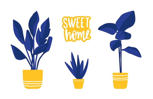 Cartoon set met huis planten geïsoleerd op wit