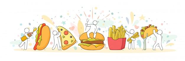 Cartoon set met kleine mensen en fastfood