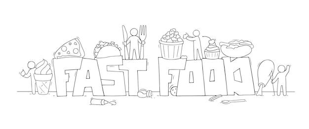 Cartoon set met kleine mensen en tekst fastfood. vector miniatuurscène van arbeiders met pizza, aardappel.