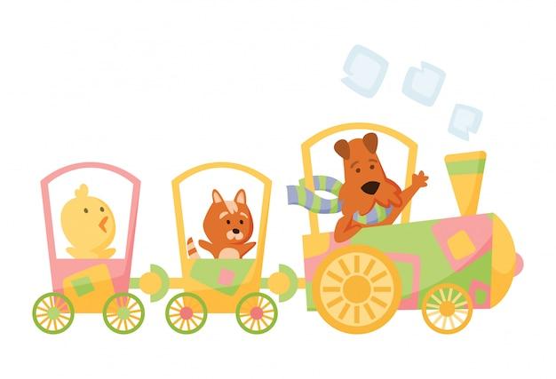 Cartoon set met verschillende dieren op treinen. kat, hond en kip. vlakke elementen