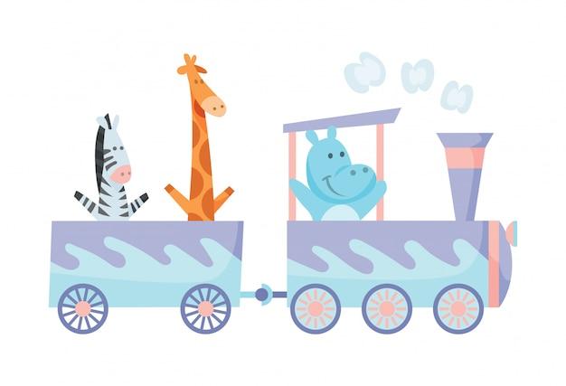 Cartoon set met verschillende dieren op treinen. nijlpaardgiraf en zebra.
