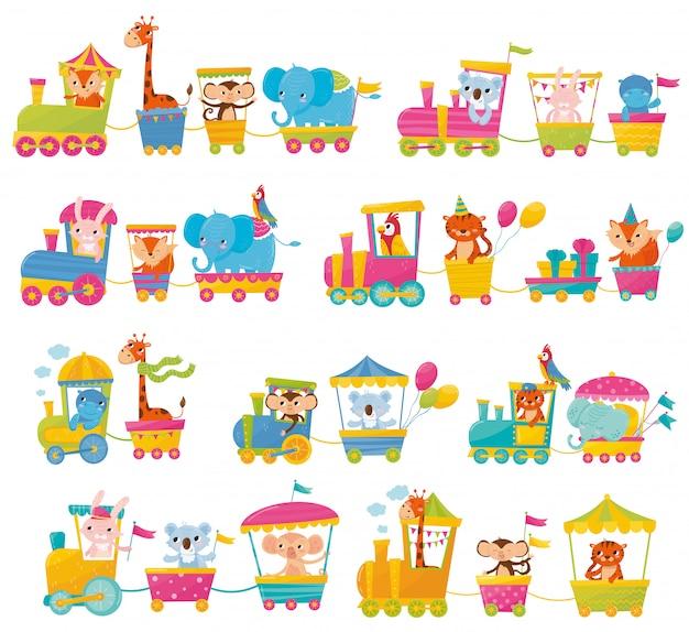 Cartoon set met verschillende dieren op treinen. vos, giraf, aap, olifant, koala, konijn, tijger, kolos, papegaai. platte elementen voor briefkaart, boek of print