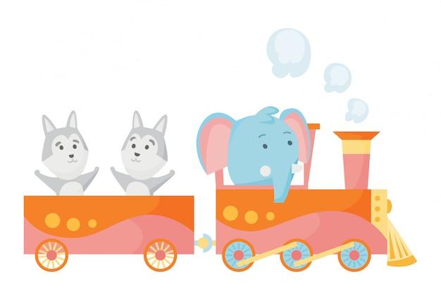 Cartoon set met verschillende dieren op treinen.