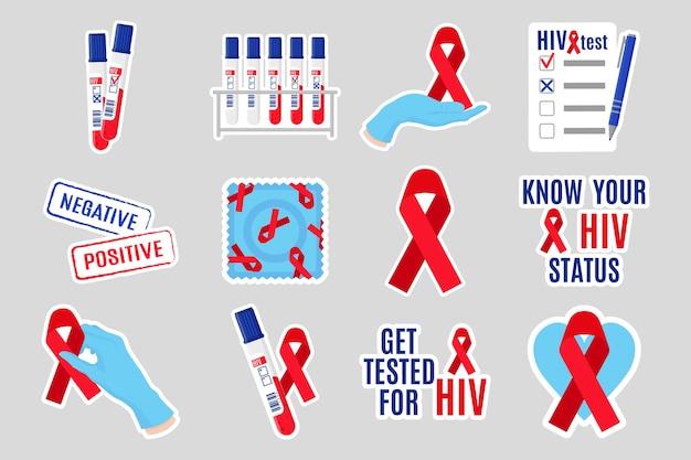 Cartoon set stickers illustraties aids en hiv-voorlichting. rood lint, test, reageerbuis, inscriptie, condoom, zegelring, doktershanden, handschoenen, blanco. wereld aids dag.