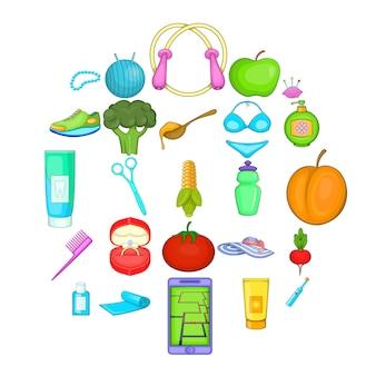 Cartoon set van 25 goede productpictogrammen