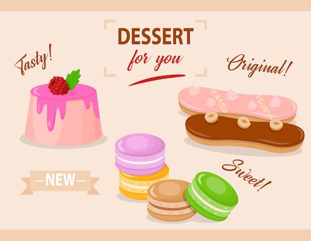 Cartoon set van cake met glazuur en framboos
