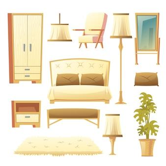 Cartoon set van een slaapkamer