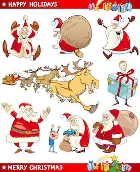 Cartoon set van kerstmis thema's Premium Vector