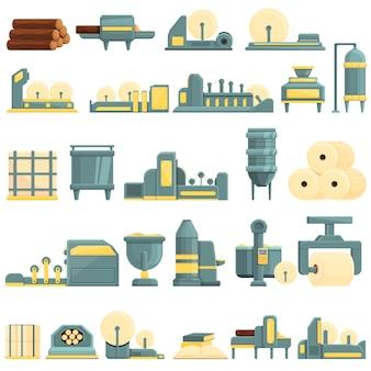 Cartoon set van papierproductie