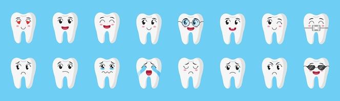 cartoon set van schattige karakters van tanden met verschillende emoties: blij, verdrietig, huilen, vrolijk, glimlachen, lachen, enz. tandheelkundige concept voor kinderen.