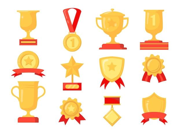 Cartoon set van verschillende gouden onderscheidingen voor winnaar. vlakke afbeelding.