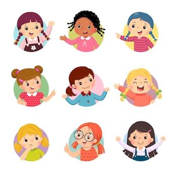 Cartoon set van verschillende meisjeskinderen met verschillende houdingen.
