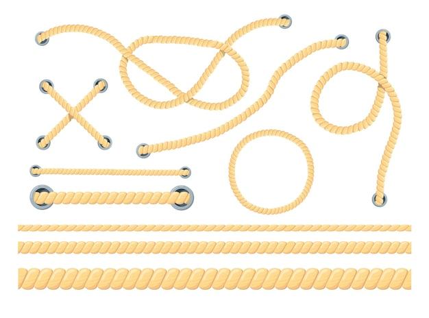 Cartoon set van verschillende touwen vlakke afbeelding.