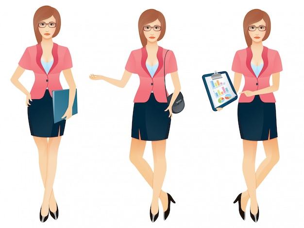 Cartoon sexy jonge zakenvrouw of secretaresse in verschillende poses