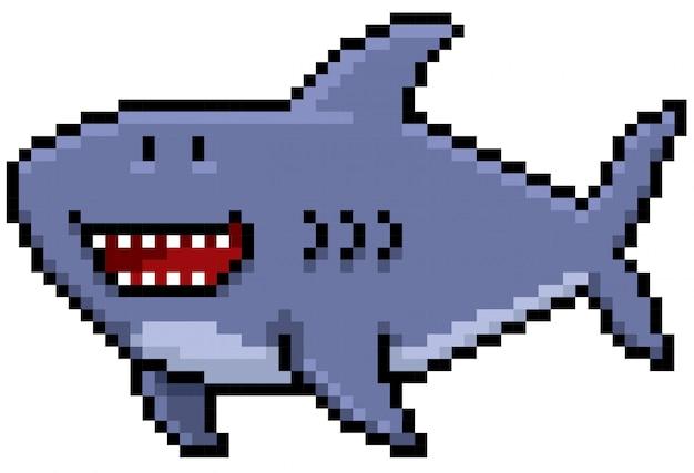 Cartoon shark pixel ontwerp