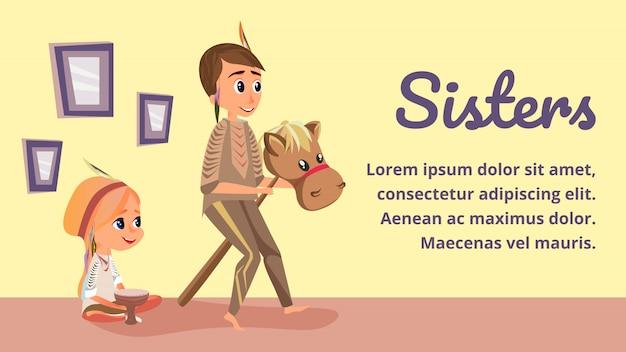 Cartoon sisters spelen in indiaanse kostuums