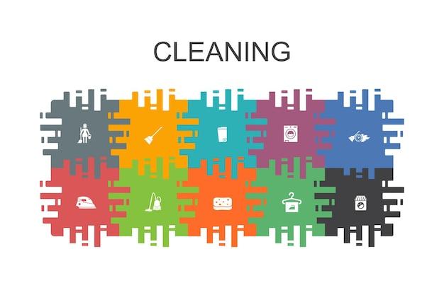 Cartoon sjabloon met platte elementen schoonmaken. bevat pictogrammen zoals bezem, prullenbak, spons, stomerij