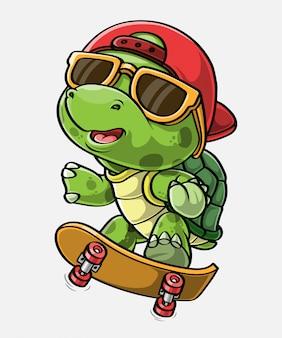 Cartoon skater schildpad, getrokken hand