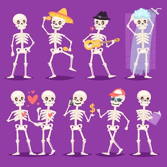 Cartoon skelet knokige karakter mexicaanse muzikant of mooi stel met schedel en menselijke botten illustratie skelet set van dode mensen dansen of baden op achtergrond