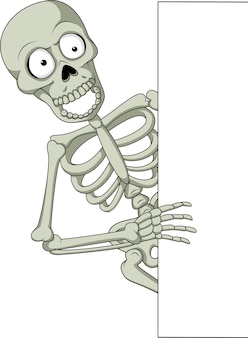 Cartoon skelet met leeg teken