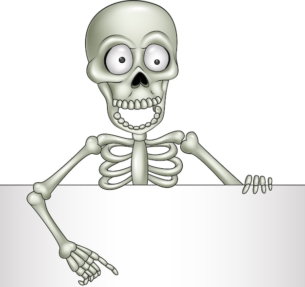 Cartoon skeleton leeg teken te houden