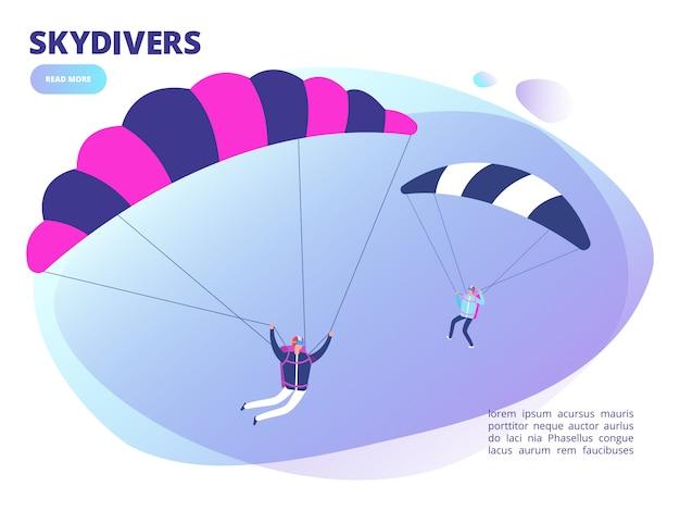 Cartoon skydivers achtergrond webpagina. parachutespringen illustratie