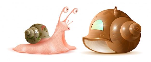 Cartoon slak kijkt naar nieuwe shell van huis. onroerend goed kopen
