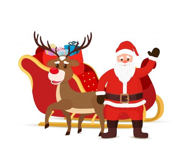 Cartoon slee, rendieren, slee met de kerstman.