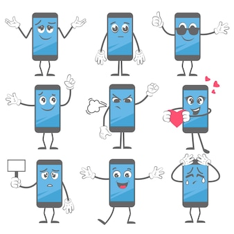 Cartoon smartphone. de actie van de mobiele telefoonmascotte stelt met handen en benen in het karakterbeeld van de laarsentablet.