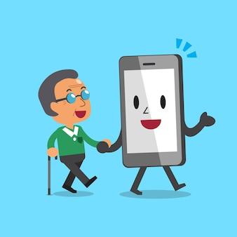 Cartoon smartphonekarakter die de oude mens helpen te lopen