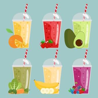 Cartoon-smoothies. sinaasappel, aardbei, bes, banaan en avocado