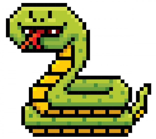 Cartoon snake pixel ontwerp