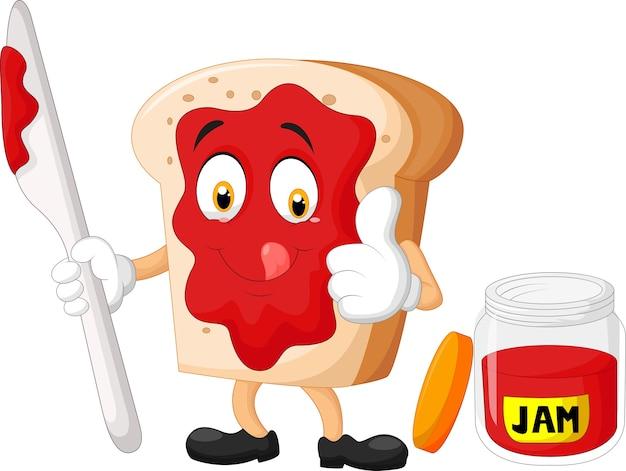 Cartoon sneetje brood met jam duimen opgevend