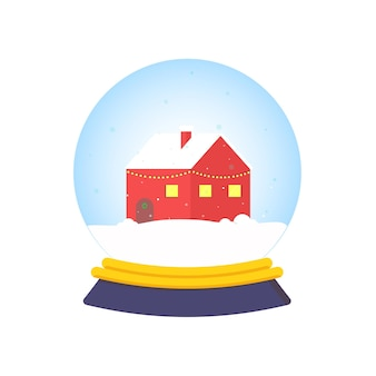 Cartoon sneeuwbol met huis
