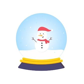 Cartoon sneeuwbol met sneeuwpop