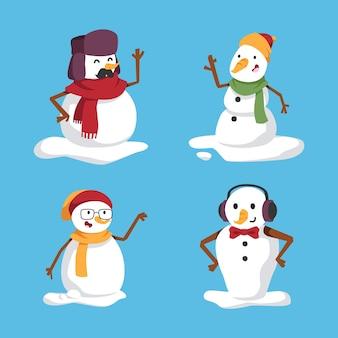 Cartoon sneeuwpop tekensverzameling