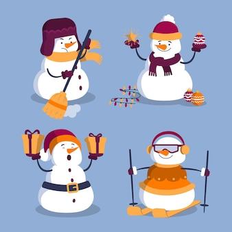 Cartoon sneeuwpop tekenverzameling