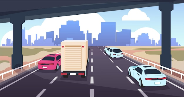 Cartoon snelweg verkeer. weg naar de stad met auto's, natuurlandschap en skyline, reizen en logistiek concept. vector illustraties panoramisch uitzicht silhouet moderne scène stedelijke wolkenkrabbers