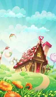 Cartoon snoep huis op de weide