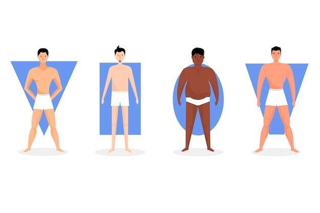Cartoon soorten man lichaamsvormen