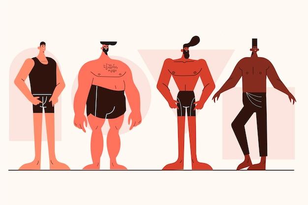 Cartoon soorten mannelijke lichaamsvormen pack