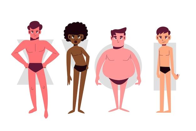 Cartoon soorten mannelijke lichaamsvormen
