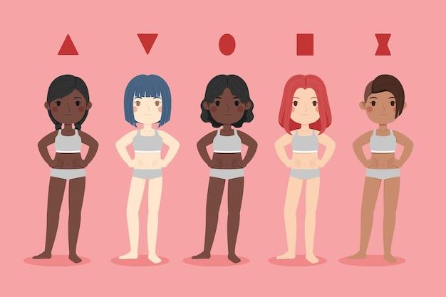 Cartoon soorten vrouwelijke lichaamsvormen ingesteld