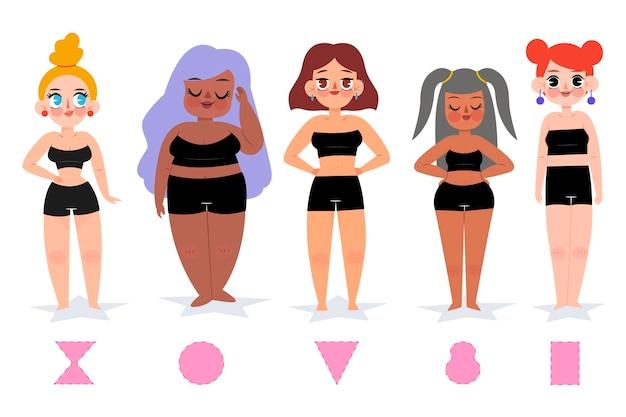 Cartoon soorten vrouwelijke lichaamsvormen