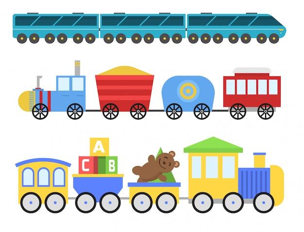 Cartoon speelgoed trein spoorweg en cartoon vervoer spel plezier vrije tijd vreugde geschenk locomotief vervoer.