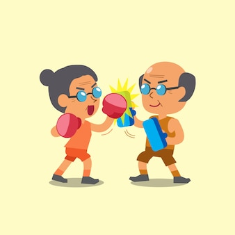 Cartoon sport oude vrouw en oude man doen uppercut punch training