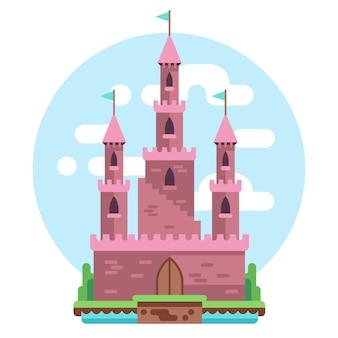 Cartoon sprookje roze alcazar kasteel illustratie. prinsesroze mysterieus huis met vlag