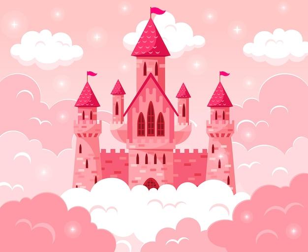 Cartoon sprookje roze kasteel. magische sprookjesachtige middeleeuwse toren, prinseskasteel in roze wolken